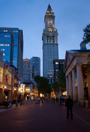 tower house: Quincy Market and Custom House Tower at night. Boston, Massachusetts