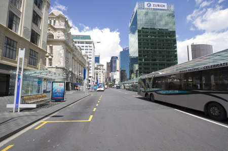 View at business buildings and street in Auckland, New Zealand