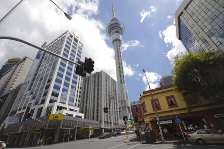 sky scraper: View at sky tower and street in Auckland, New Zealand