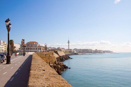 cadiz: View on promenade by the sea in Cadiz, Spain