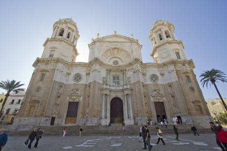 Wonderful cathedral of neoclassical style of ancient city of Cadiz, Spain