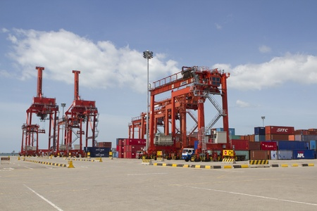 Big container cranes in the port of Sihanoukville, Cambodia