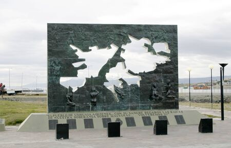 USHUAIA, ARGENTINA - 3 FEBRUARY 2009: Monument to Islas Malvinas or  Falkland islands, now British territory and Argentinian claim, in Ushuaia, Argentina Editorial