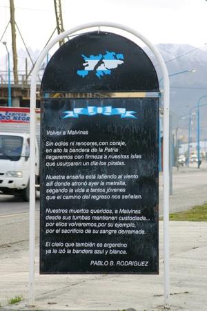 poem: USHUAIA, ARGENTINA - 3 FEBRUARY 2009: Poem from Pablo B. Rodriguez to Islas Malvinas or  Falkland islands, now British territory and Argentinian claim, in Ushuaia, Argentina