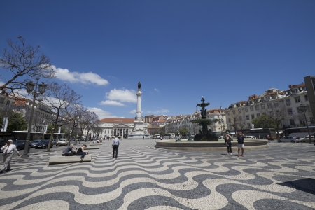 Rossio Square (Praca do Rossio) in Lisbon, Portugal, with Pedro King statue
