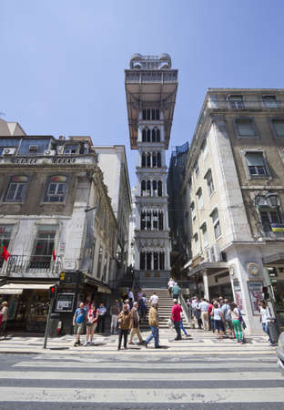 justa: LISBON, PORTUGAL - MAY 22: The Santa Justa Lift also called Carmo Lift. It connects the lower streets of the Baixa with the higher Largo do Carmo (Carmo Square.) on May 22, 2012.