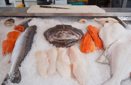 Various fish on sale in market place