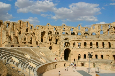 amphitheater: Roman amphitheater of El-Jam, colosseum, Tunisia Stock Photo