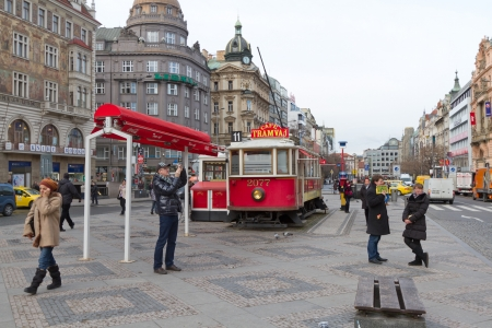 Tram caffe on Wenceslas Square in Prague. Czech Republic.