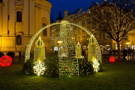 New year decoration in park in Prague by the central square in old town