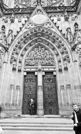 cathedrale: Door of Sv. Vitus cathedrale, Prague, BW photo