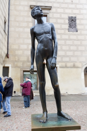 Statue of The Boy with the Golden Penis, Prague Stock Photo - 17950813