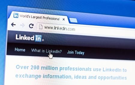 RIJEKA, CROATIA - FEB 25: Close up of Linkedin Editorial