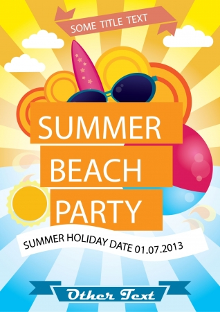party poster: Summer beach party vector poster with plenty of text space Illustration
