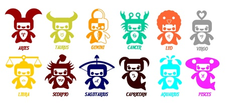 Set of astrological zodiac symbols  Horoscope signs, very cute design Vector