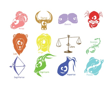 zodiac signs: Set of astrological zodiac symbols  Horoscope signs, funny design
