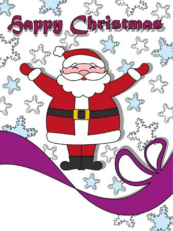 Happy Christmas greeting card with Santa Claus  Copy space in left bottom corner