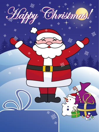 Happy Christmas greeting card with Santa Claus  Copy space in left bottom corner  Title in separate layer for easier editing  Illustration