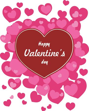 Happy valentines day cards with hearts Illustration