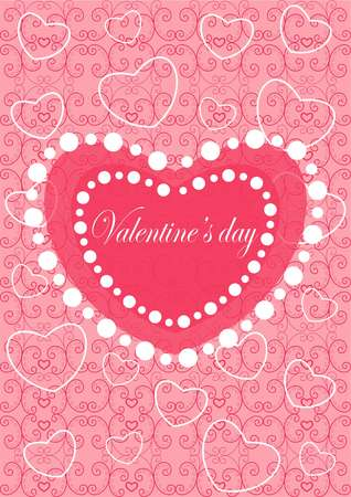 Happy valentines day cards with ornaments, hearts and ribbons