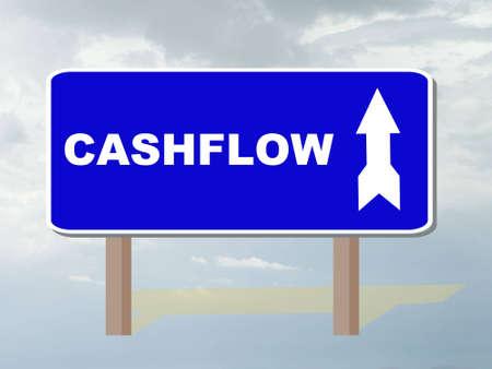 cashflow: roadsign que muestran la direcci�n de flujo de caja Foto de archivo