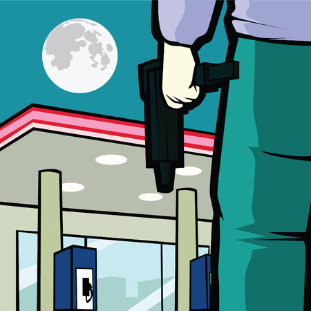 robbery: gas station robbery at night by a man with a gun