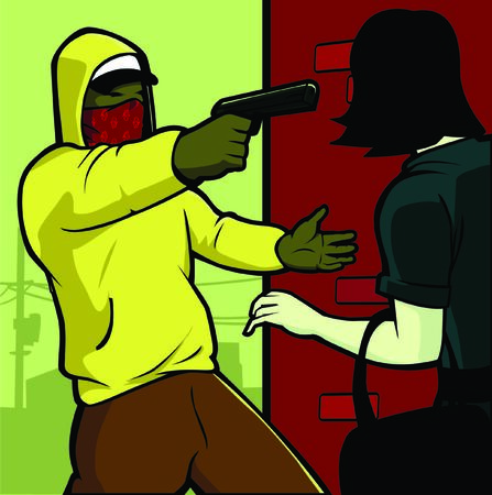 gangster with gun: un hombre mugging una chica en la esquina de la calle en el �rea urbana