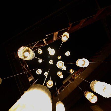 shooting stars: Downing lamps like shooting stars Stock Photo