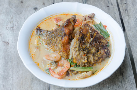 favorite soup: Tom Yum Kung and fish -Thai spicy soup.