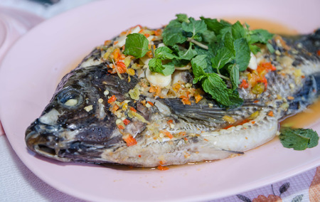 nilotica: steamed Nilotica fish,thai style steamed fish in spicy sauce