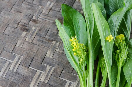 cantonese: image of green Cabbage Cantonese on the wooden background.