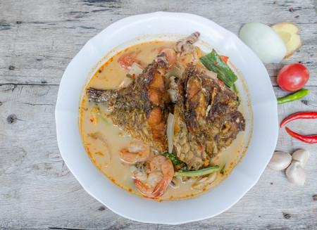 sour grass: Tom Yum Kung and fish -Thai spicy soup.