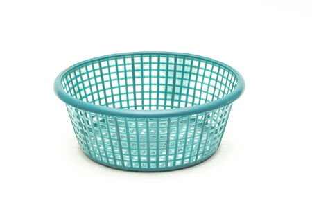 vintage weave wicker basket isolated on white background photo