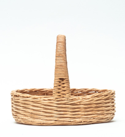 interleaved: vintage weave wicker basket isolated on white background Stock Photo