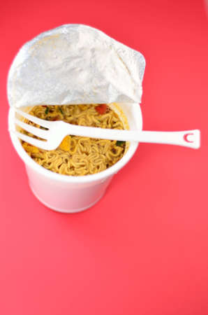 mie noodles: asian instant food noodle ready in three minutes in hot water