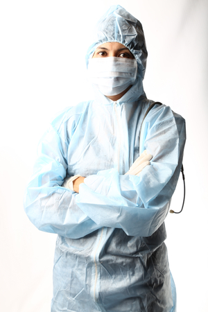 protective suit: biotechnology researcher in protect wear Stock Photo