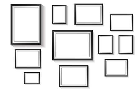 Vertical rectangle frame, black exterior frame overlaid with white frame on white background