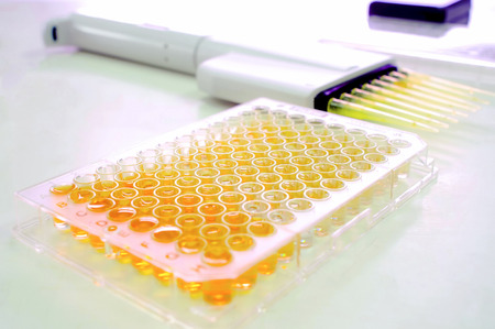 A microtitre plate  spelled microtiter