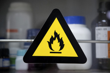 The Hazard symbols for chemicals are pictograms defined by the European community for labeling chemical packagings (for storage and workplace) and containers (for transportation). They are standardized currently by the CLP/GHS classification. Stockfoto