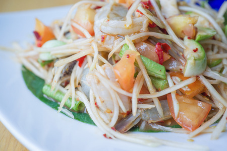 Som Tum or Papaya Salad, Papaya Pok Pok, Thai Traditional Cuisine, Popular Thai Food.