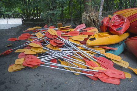 Paddle kayaks inside the river. Stock Photo