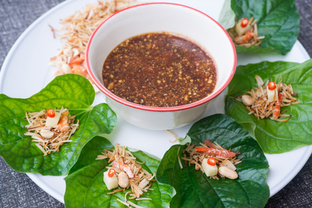 savoury: savoury leaf wrap, Miang Kham, herb dessert food