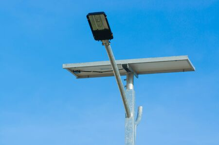 LED street light with solar cell power with beautiful sky background