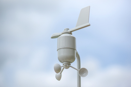 Anemometer Meteorology station, Wind meter with blur background Stock Photo