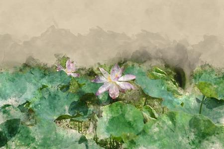 Efecto de acuarela cuadro de loto en el estanque de agua