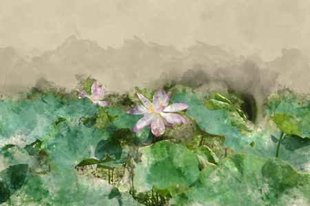Watercolor effect picture lotus in water pond