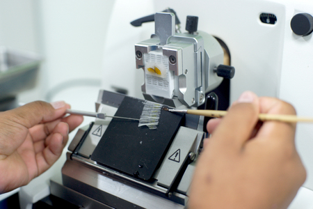 Rotary Microtome Sectie voor diagnose in pathologie Stockfoto