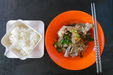 Thai breakfast with rice and Ekaehla