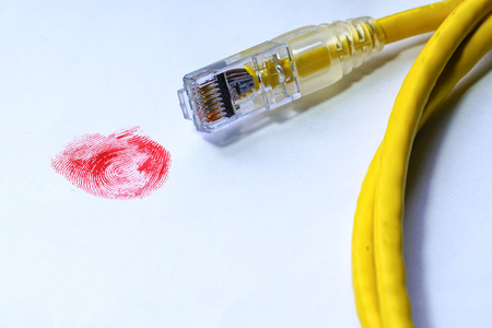 Red finger print with network cable Stock Photo