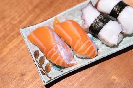 Fresh sushi in the japanese restaurant. Japanese food. Stock Photo